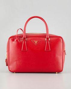shopstyle.com: Prada Saffiano Vernice TV Bag, Red