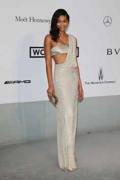Chanel Iman in a pale shimmering watercolor dress over a satin bralette at the amfAR Gala 2014 Chanel Iman, Celebrity Red Carpet, Celebrity Dresses, Celebrity Style, Love Fashion, Fashion Show, Fashion Killa, Satin Bralette, Cannes Film Festival 2014