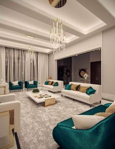 Family villa Contemporary Arabic Interior Design 6 – Expansive and grand living … House Ceiling Design, Ceiling Design Living Room, Home Room Design, Living Room Decor, House Design, Living Area, Design Kitchen, Elegant Living Room, Luxury Home Decor