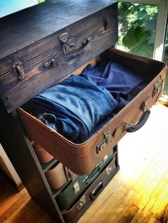 drawers of old suitcases