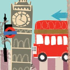 London illustration by Black Olive London Illustration, Travel Illustration, Photo Illustration, Print Wallpaper, London Art, Inspiration For Kids, Vintage Travel Posters, Art Pages, Illustrations Posters