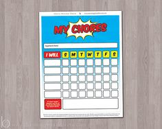 Superhero design printable chore chart for kids from Charming Printables on Etsy