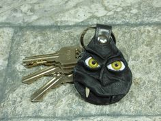 Key Ring Hand Made Leather Fob With Face Eye Key Purse Charm Black Harry Potter Labyrinth Monster