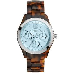 Fossil Stella Tort Acetate Link Bracelet Multifunction Watch ($79) ❤ liked on Polyvore featuring jewelry, watches, silver, fossil watches, tortoise jewelry, tortoiseshell jewelry, quartz movement watches and fossil wrist watch