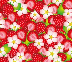 """Strawberry Pattern Motiv: """"Strawberry field-2"""" (#66562) © Cassiopee    One of the Top 20 stoffn's strawberry pattern contest in June 2015"""