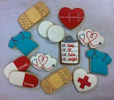 Celebrating your new RN or the retirement of your favorite nurse? Do it the sweet way with our nurse themed cookie favors! Offered by the dozen, party favor cookies measure approximately 3 and come individually bagged and bowed. This *listing includes the following designs: Scrub shirts Twin heart stethoscopes Capsules Small pills, bagged together (priced as one cookie) Bandaid Chart EKG Heart Red Cross Heart *If you would like only specific designs, just mention your preferences in the…
