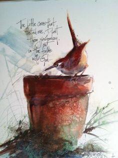 Items similar to Watercolor of Garden Wren resting on flower pot on Etsy Watercolor Bird, Watercolour Painting, Painting & Drawing, Watercolor Portraits, Watercolor Landscape, Watercolours, Illustration, Bird Art, Beautiful Birds