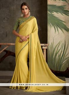 Yellow Ethnic Indian Wear Plain Georgette Saree With Blouse Piece Cataloge Whatsapp :- 9377709531 Plain Georgette Saree, Indian Fashion Trends, Saree Trends, Yellow Saree, Saree Shopping, Traditional Sarees, Party Wear Sarees, Printed Sarees, Festival Wear