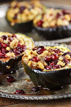 Acorn Squash Stuffed with Cranberries & Walnuts