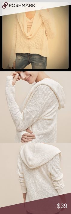 """Anthropologie Almeria Hooded Cowl By Saturday/Sunday. Size: XS (note, has an oversized fit). Color: creme. Cotton & acrylic. Pullover. 24"""" long. Sleeves feature thumb cut outs. Cowl, hood & sleeves are waffled texture, chest & back are marled. Deep low cut cowl, must be worn with a cami, shirt, or tank underneath. Machine wash. BNWT. No damage, never worn. Anthropologie Tops Sweatshirts & Hoodies"""
