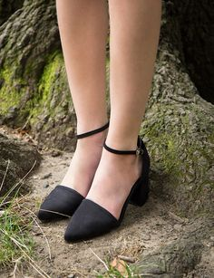 Ankle Strap Medium Heel Shoes - Black Pointy Block Heels #pixiemarket #fashion #womenclothing @pixiemarket