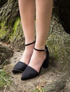 Ankle Strap Medium Heel Shoes - Black Pointy Block Heels #pixiemarket #fashion #womenclothing @pixiemarket