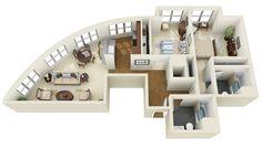 """ concept two-bedroom apartment floorplan """
