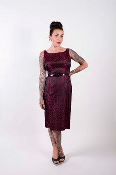 50s Vintage Cocktail Dress Black and Fuchsia Jacquard 1950s Vintage Dress with Pockets