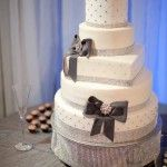 Sparkly mixed shape cake with blingy ribbons and bows