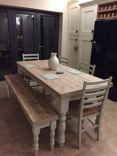 Hand crafted farmhouse dining table with reclaimed wood top and Farrow and Ball painted base, and a matching bench. This table measures long x wide and can comfortably sit The chunky solid wood top is made from reclaimed pine and shows all the Farmhouse Table Plans, Farmhouse Dining Room Table, Dining Table With Bench, Wood Table, Farmhouse Chic, Kitchen Benches, Coffe Table, Farmhouse Ideas, 6 Seater Dining Table