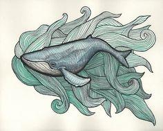 Blue Whale in Green Ocean 8 x 10 Print by BlackKatLuck on Etsy, $21.00