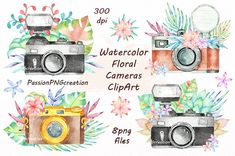 Vintage Retro Watercolor Camera Perfect For Photography Logo Stock. Watercolor Camera With Flowers Stock Photo Picture And Royalty. Isolated Watercolor Camera On White Background Simple Photo. Watercolor Camera Print Nikon T Watercolor Drawing, Floral Watercolor, Watercolor Ideas, Pencil Illustration, Graphic Illustration, Watercolor Illustration, Clipart, Camera Clip Art, Retro Camera