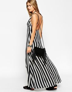 Image 4 ofASOS Maxi Dress In Stripe With High Neck