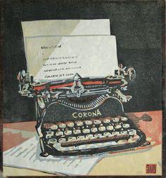 """The Typewriter"" by Steven Hubbard, 2011. (four-block lino print)"