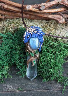 Blue Forest Dragon Pendant  Labradorite Rock Quartz crystal