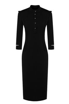 Vintage 3/4 Sleeve Standing Collar Dress