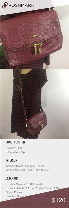 EUC Fossil Preston small fold over bag EUC Fossil Preston small fold over bag with zippers in maroon. No scratches only used a couple of times. Fossil Bags Crossbody Bags