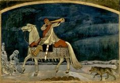 Kullervo Departs for the War, by Akseli Gallen-Kallela the Finnish national epic - this is FINLAND Tove Jansson, Scandinavian Countries, Asatru, Gods And Goddesses, Conte, Folk Art, Fairy Tales, History, Drawings