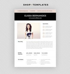 Cute OnePage Media Kit Template Press Kit Pastel  Black And