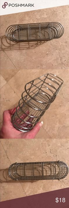 Chrome 5 section holder 5 section wire holder in chrome with basket weave bottom. Great quality not easy to find. Can use for so many applications :) Other