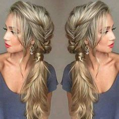 Ponytails don't have to always be on the back of your head! Try this fishtail braid down into a side ponytail.