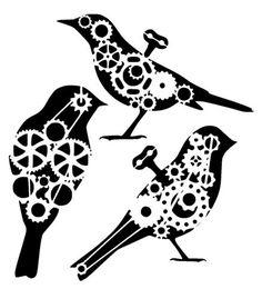 steampunk cogs bird collection stencil