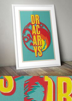 Dracarys Retro Offset Print A3 www.thedesignersnursery.etsy.com #gameofthrones #motherofdragons