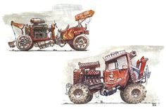 A selection of off-road vehicles, hand-sketched with marker/value block-in's. Mostly for exploration and sketching practice. Generally I've tried to maintain more grounded designs to understand functionality with a few stylistic form choices here and there. Looking forward to doing more fictional ones soon :)