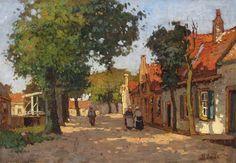 'Dorpsstraatje in Noordwijk', Ben Viegers. Impressionist Paintings, Art Paintings, Dutch Painters, Landscape Photos, Collage Art, Holland, Cool Art, Fine Art, Campers