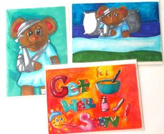 Get Well soon cards by Cpartshop on Etsy