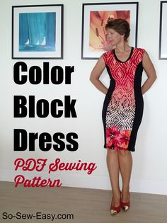 So Sew Easy Color Block Dress - PDF Sewing pattern