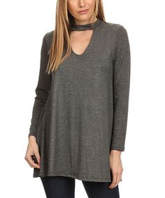 Look what I found on #zulily! Charcoal Keyhole Tunic - Plus Too #zulilyfinds