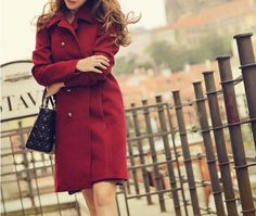 Vintage Turn-Down Collar Solid Color Double Breasted Women's Coat (RED,S) | Vintage Coats