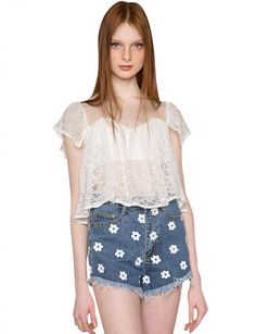 Bardot Lace Crop Top $48.00