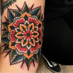 Search inspiration for an Old School tattoo. Mandala Tattoo Design, Colorful Mandala Tattoo, Dotwork Tattoo Mandala, Mandala Hand Tattoos, Tattoo Designs, Flower Tattoos, Cover Up Tattoos, Body Art Tattoos, Sleeve Tattoos