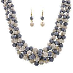 "Ivory and hematite tone ""pearls"""