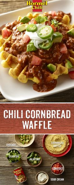 While HORMEL® Chili never gets old, Chili Nation is always hungry for something new. Like this Taco Cornbread Waffle recipe featuring America's favorite chili. Cornbread Waffles, Chili And Cornbread, Cilantro, Sour Cream, Waffle Iron Recipes, Good Food, Yummy Food, Tasty, Chili Recipes