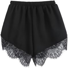 Black Elastic Waist Contrast Lace Shorts ($30) ❤ liked on Polyvore featuring shorts, bottoms, pants, short, short shorts, elastic waist shorts, loose fit shorts, black lace shorts and loose short shorts