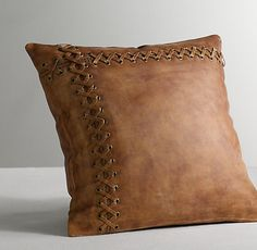 Restoration Hardware Leather Catcher's Mitt Decorative Pillow Cover & Insert $105