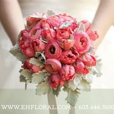 pink ranunculus, pink tulips, and dusty miller... so unique!