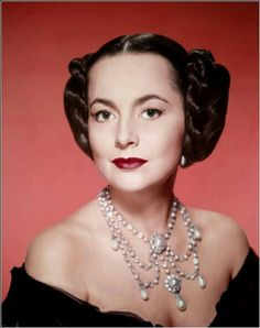 Olivia de Havilland in The Heiress wearing Joseff Hollywood Jewelry