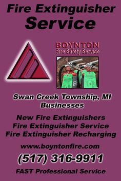 Fire Extinguisher Service Swan Creek Township, MI (517) 316-9911Local Michigan Businesses Discover the Complete Fire Protection Source.  We're Boynton Fire Safety Service.. Call us today!