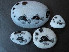 Painted fish rocks