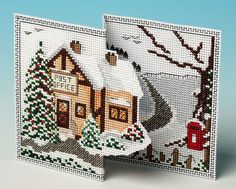 Christmas Post Deluxe 3D Cross Stitch Card Kit £13.60 | Past Impressions | The Nutmeg Company